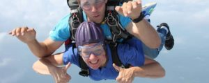 For our 50th birthdays, my best friends and I went skydiving. (Tandum, so this is some guy from the place, name unknown)