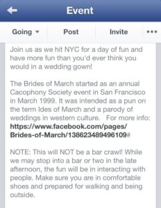 FB posting for Brides of March NYC