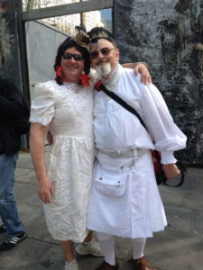 """Ed Barnas, our official wedding photographer in his white Amerikilt and """"Heidi"""""""