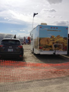 The back of our RV faced the street -where we could hear art cars with music go by all hours