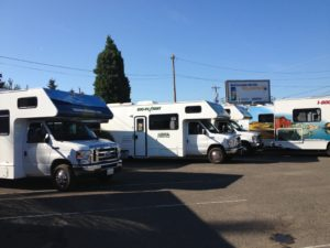 picking up the RV at the rental place in Portland, OR