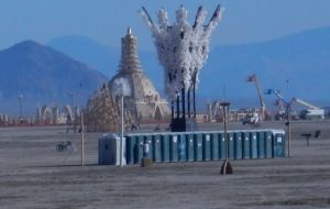 A Toilet Bowl Brush as a Beacon for Port o Potties out in the playa