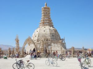 The Temple of Grace on aa clear day. The wood comes from leftover wood puzzle pieces