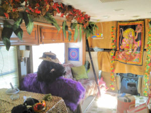 Rugs on the floor, faux fur on the seats makes for a protected, and fun, place to stay during Burning Man