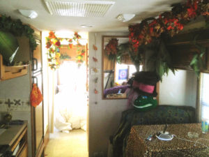 """Example of covering the inside to protect the RV from dust. Jungle creates """"Jungland"""""""