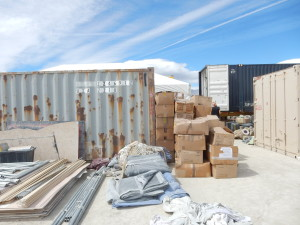 Kostume Kult gifts truck containers of donated costumes every year at Burning Man. This is them being sorted during set up.