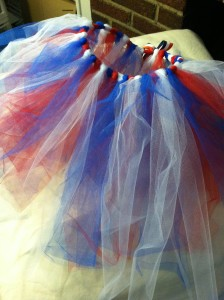 for my two favorite 4-year old nieces I made no-sew tutus for 4th of July. For a little flash, I later glued on shiny stars