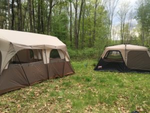 Our 10-man tent and a Coleman 2-room tent