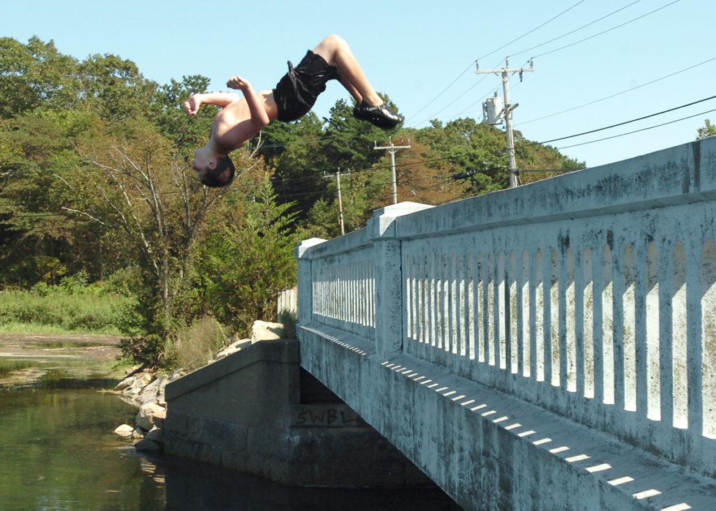 Kinesthetes form of play - jumping off ledges into the creek below