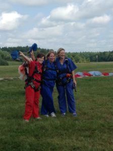 jumping out of an airplane