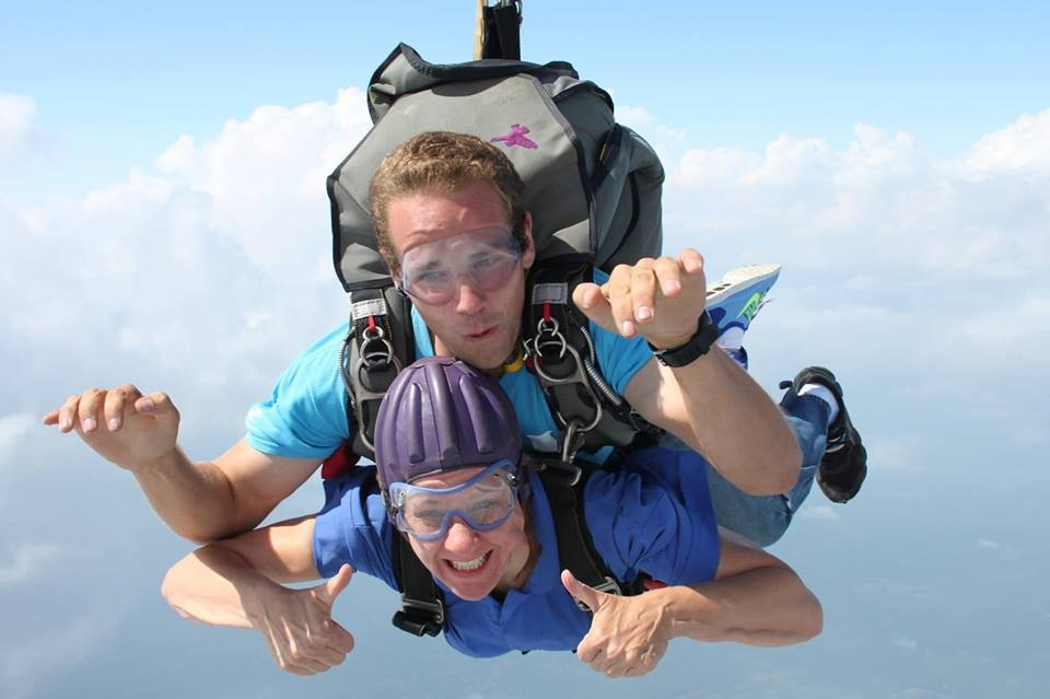 Me tandem jumping out of an airplane