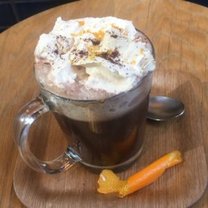 Paper Cafe Xocolat with orange slice