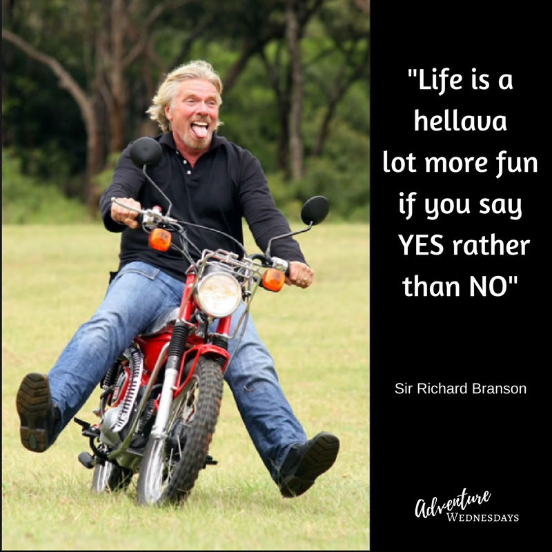 Richard Branson on a bike with quote