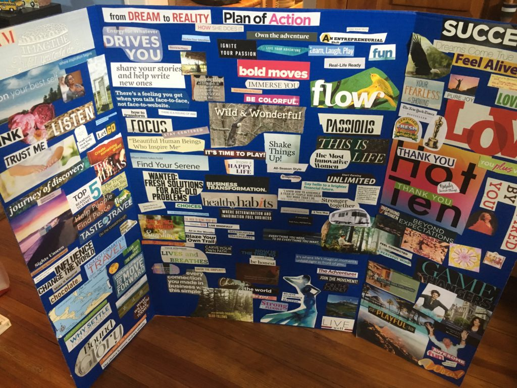 vision board created to help visualize Adventure Wednesdays plan