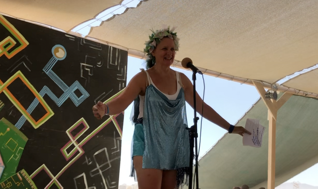 Me giving a speech at Burning Man