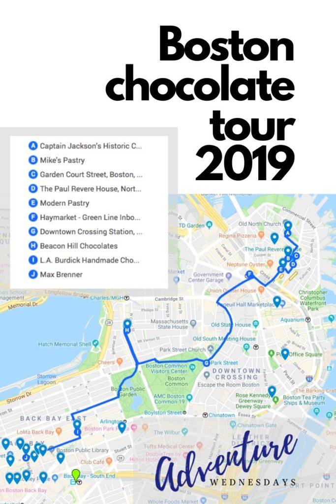Adventure Wednesdays Boston Chocolate Adventure map