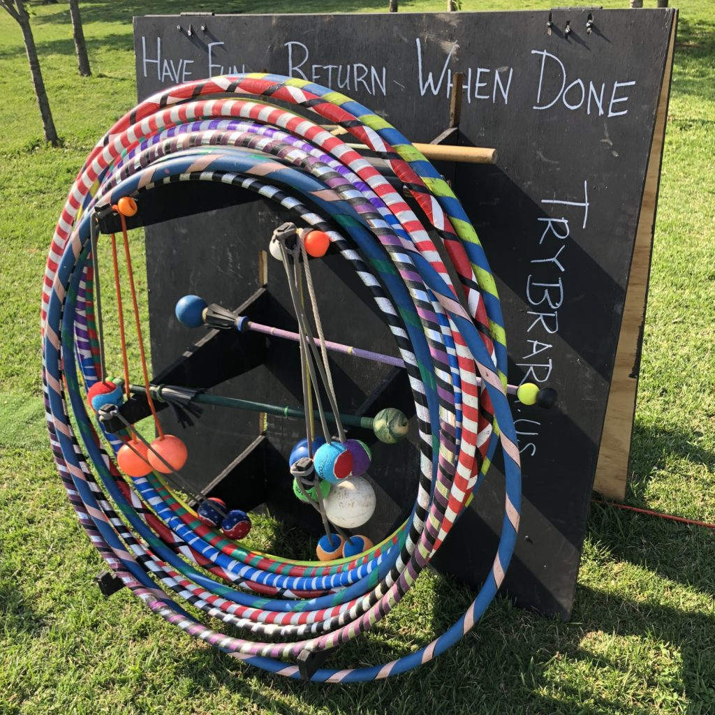 Time to play and have fun with hula hoops waiting for you on a stand