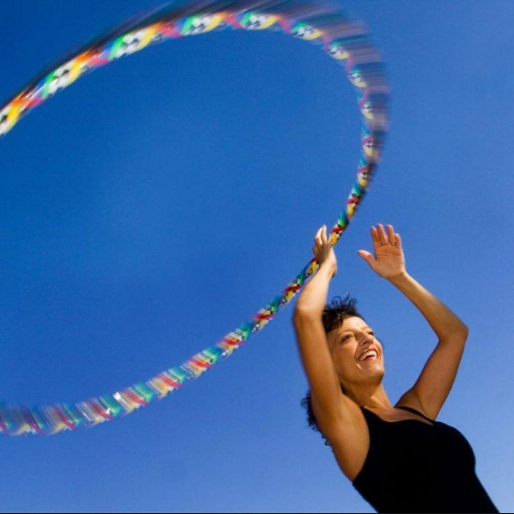 Geri swirling her hula hoop