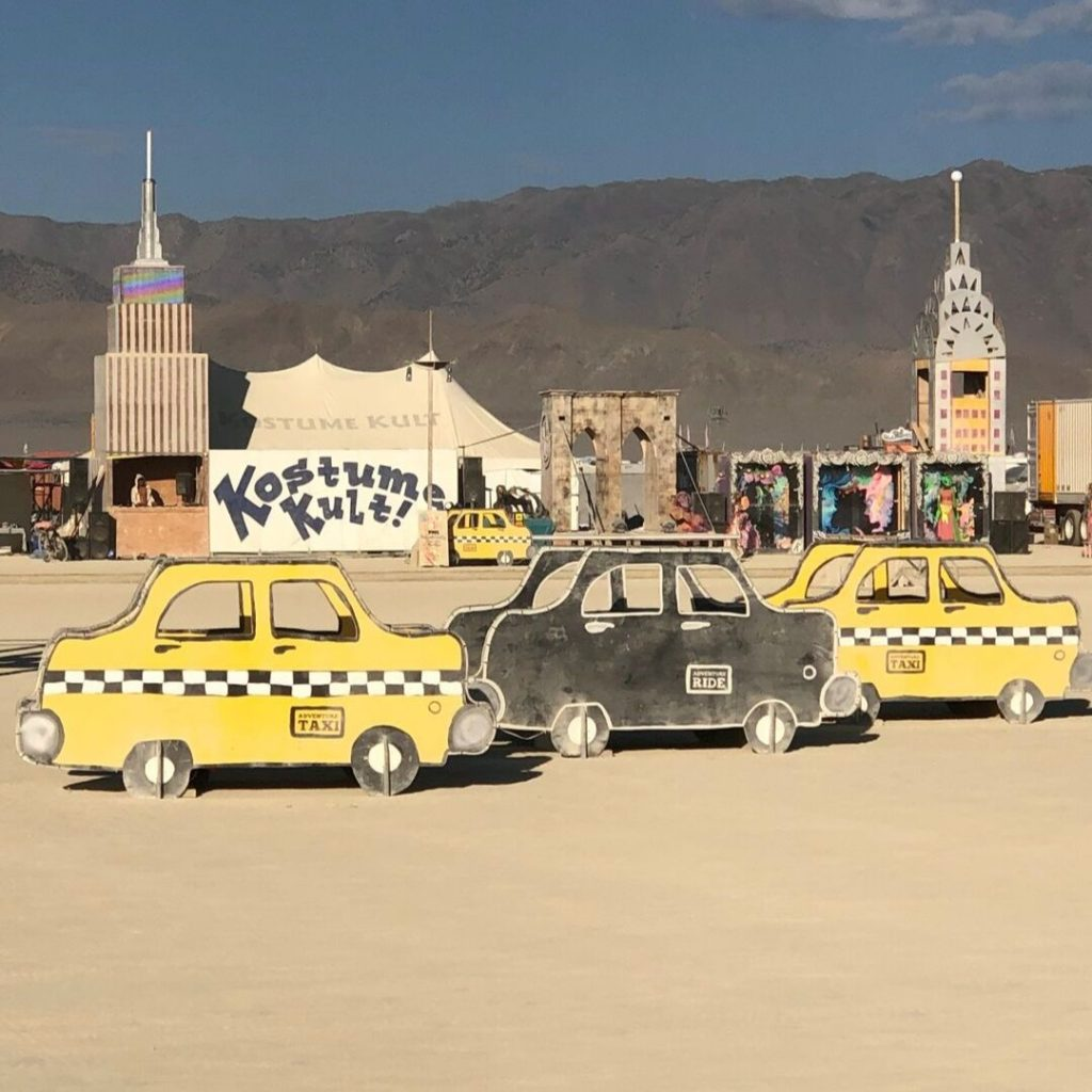 Adventure Mobiles 2019 3 taxis as art installation at Burning Man 2019