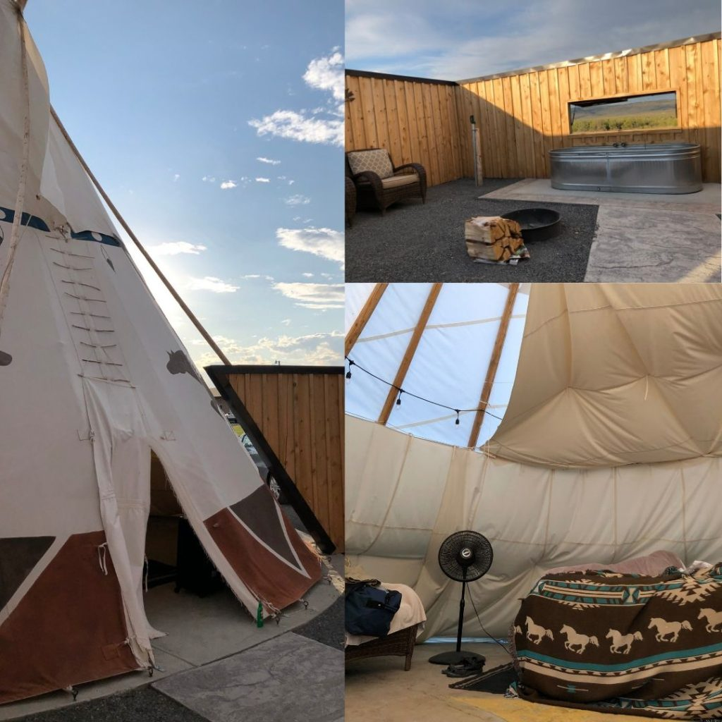 collage of images of a glamping teepee at an Oregon hot spring