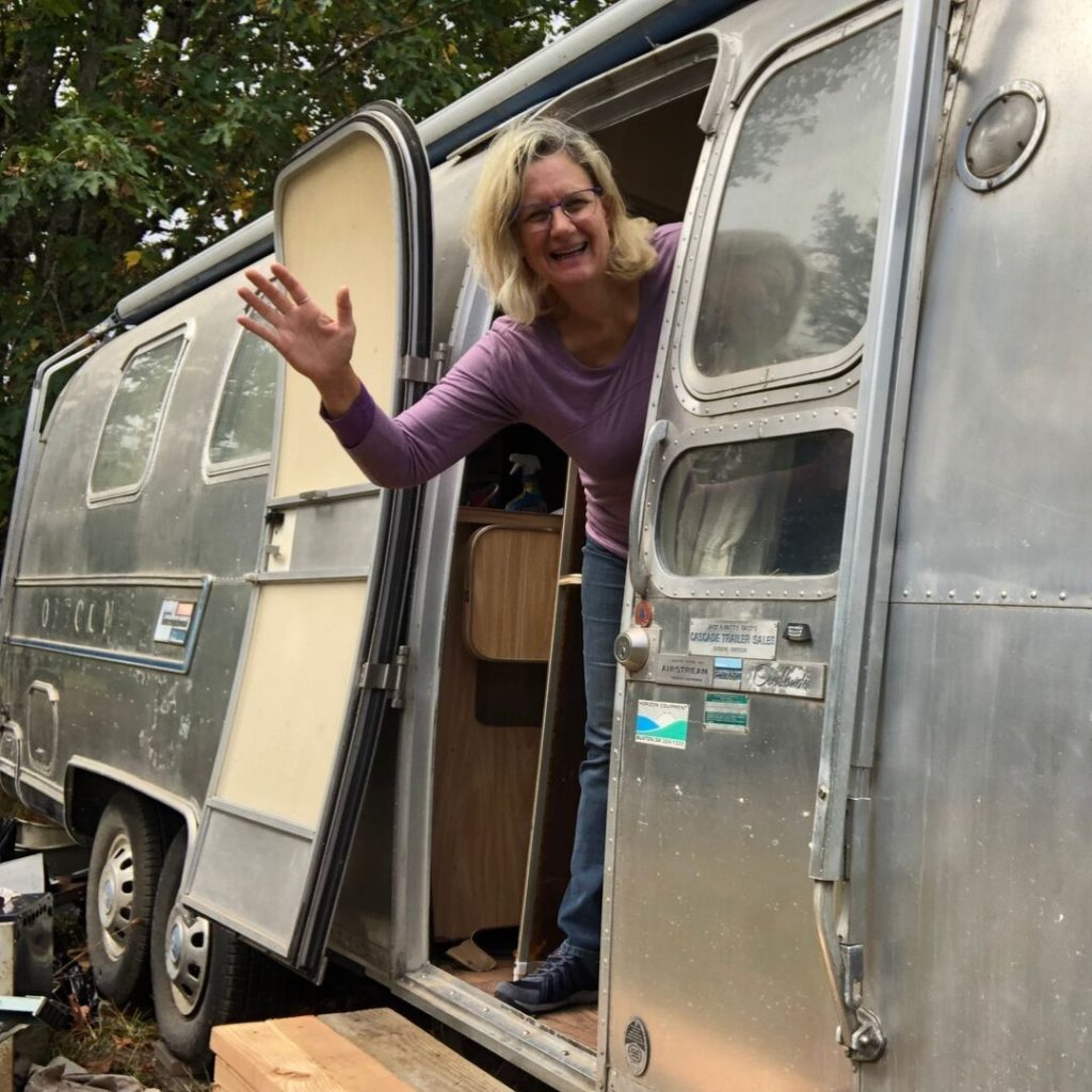 Stacey in Wednesday the Airstream