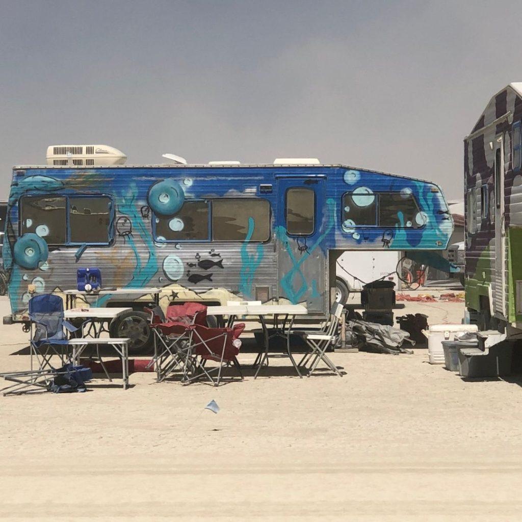 Painted RVs at Burning Man