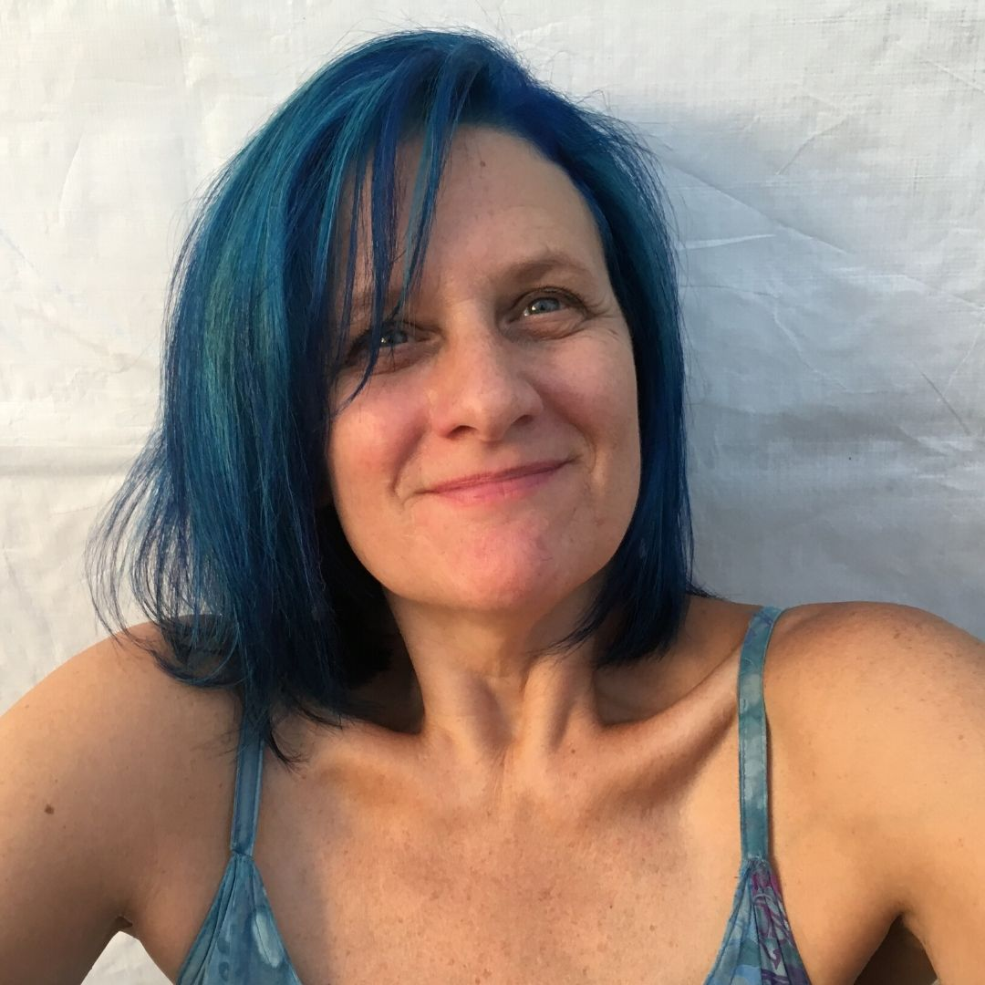 Stacey with Natural Blue hair color