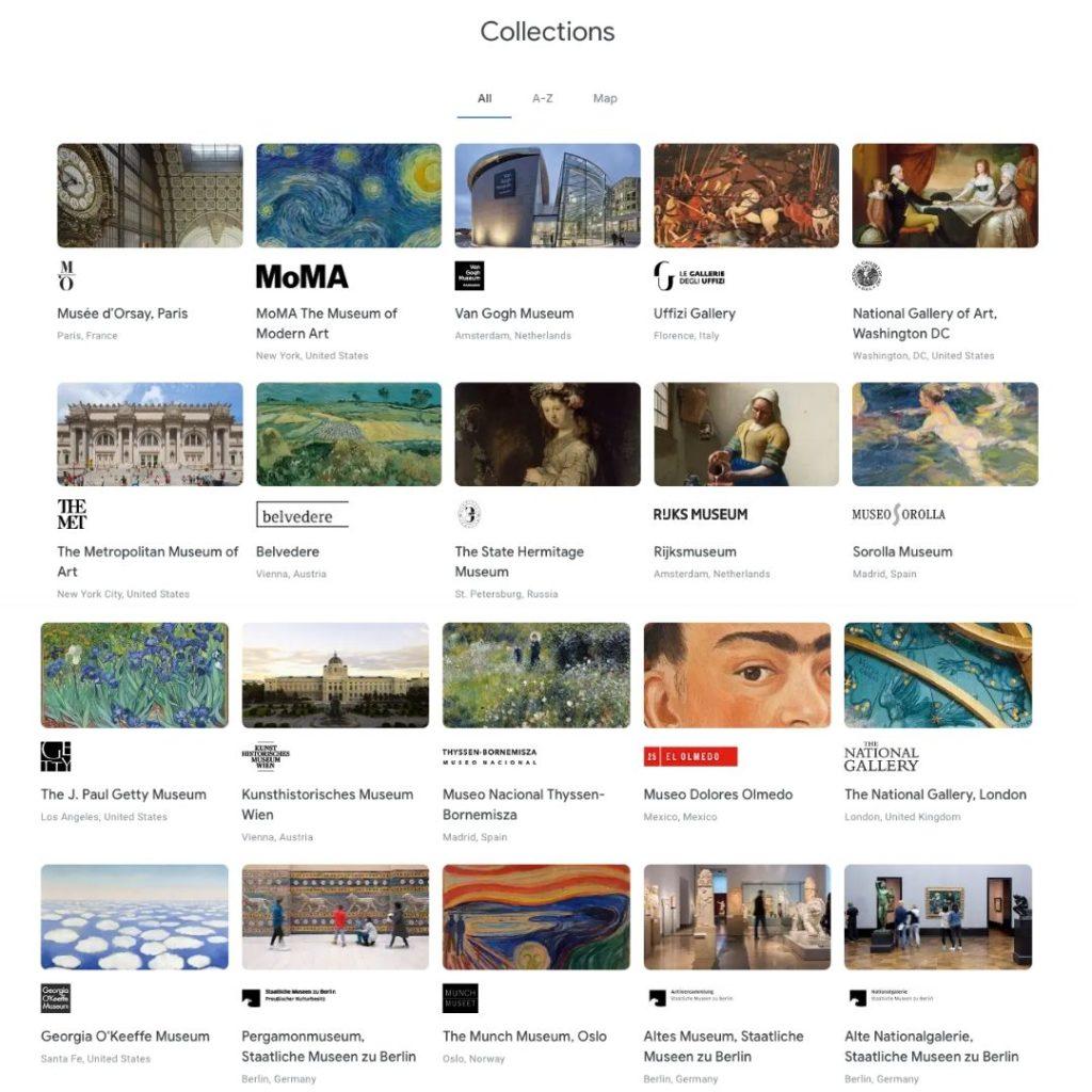 google explore art museum page
