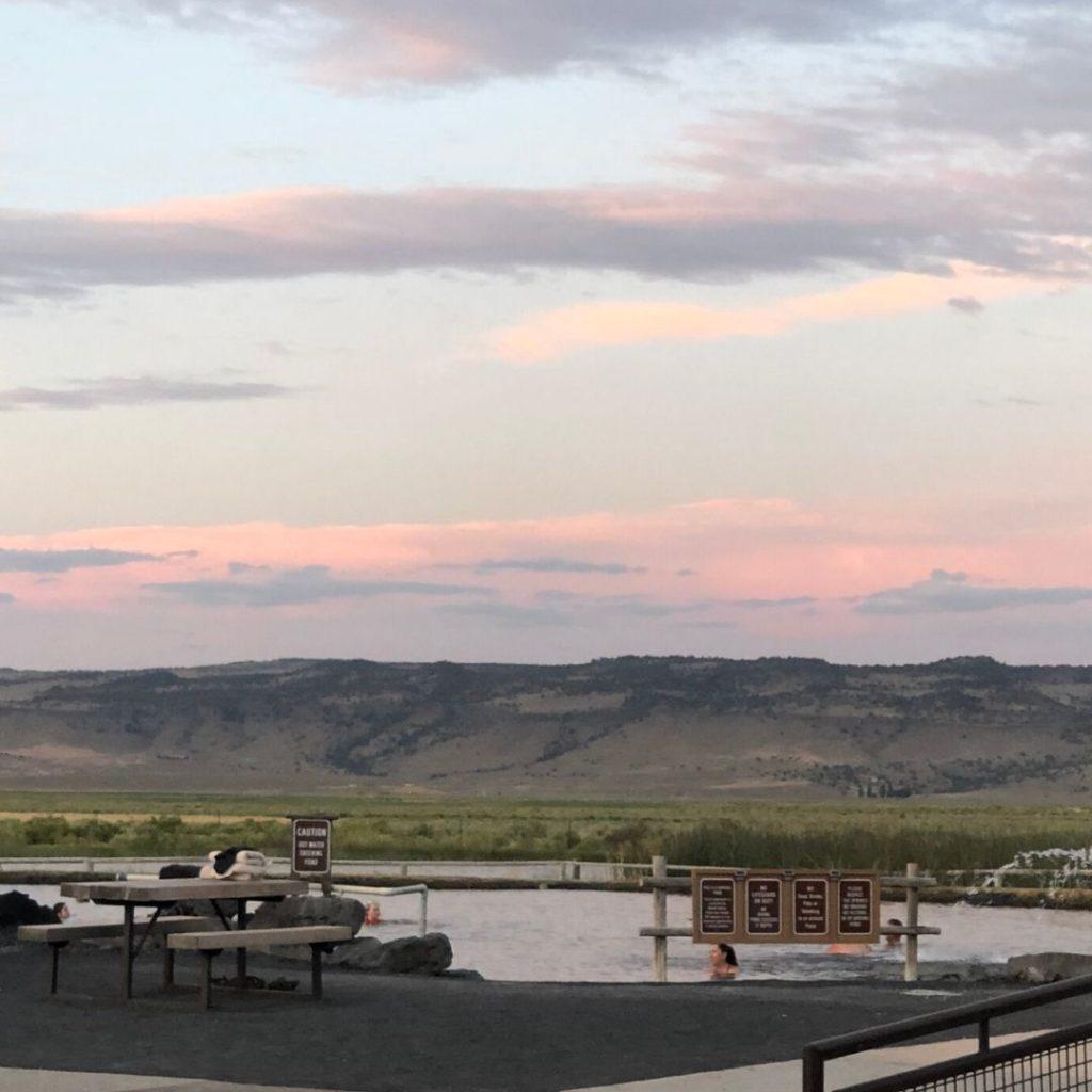 Crystal Crane Oregon hot spring at evening