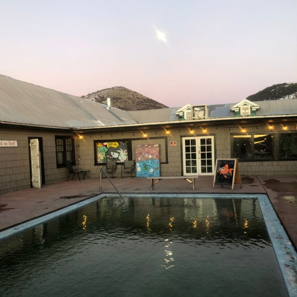 Hunter Hot Spring pool by the full moon