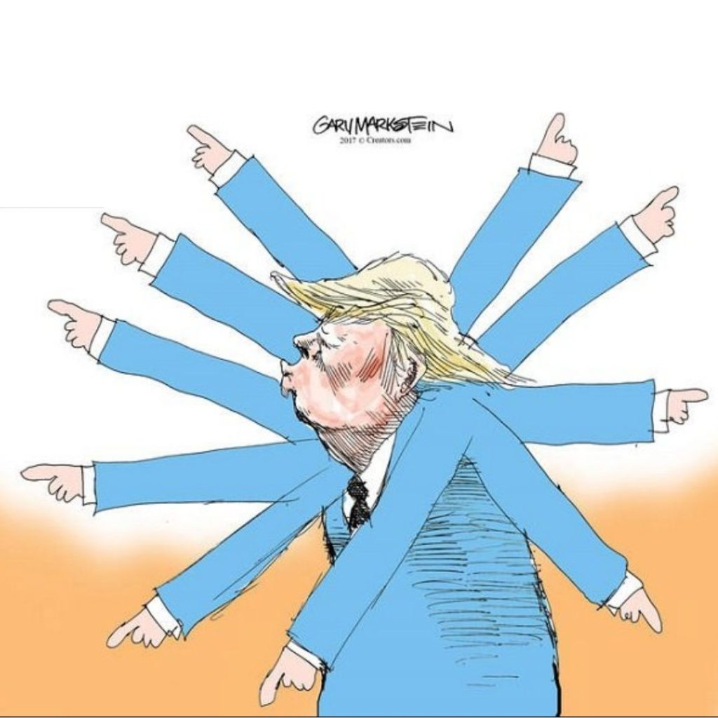 Trump cartoon pointing everywhere creating chaos and challenging times