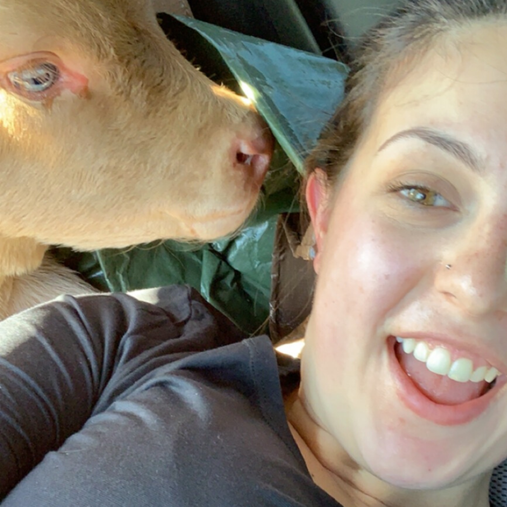 Alex and her baby cow