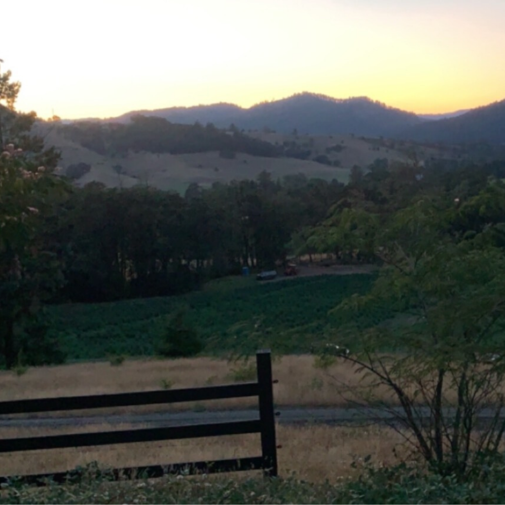 SUnset over mountains with a fence in front
