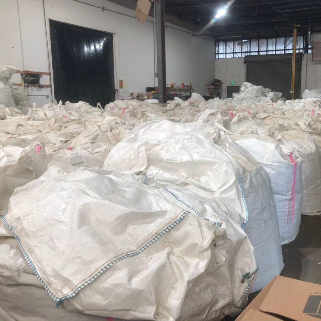 bags of hemp biomass