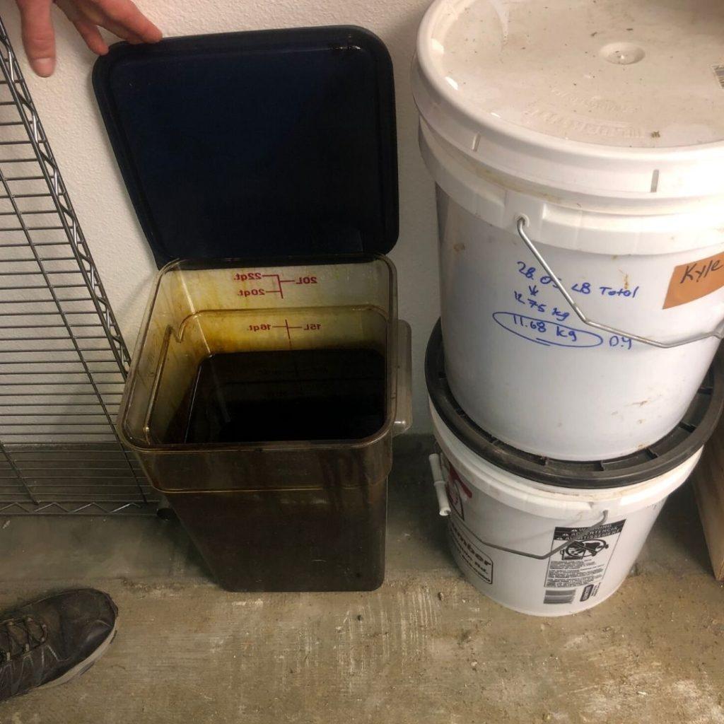 Hemp oil in a bucket