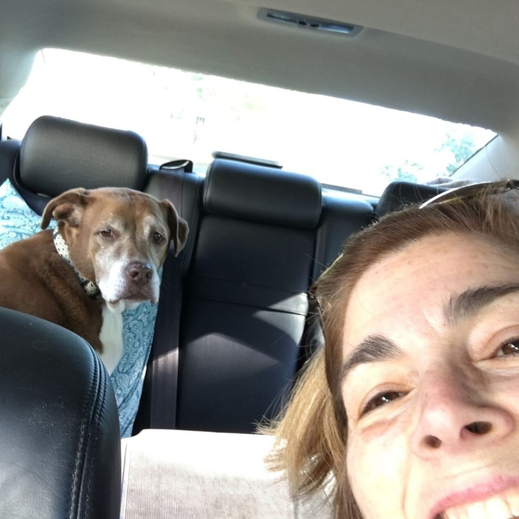 Lisa and her pup on a road trip, back when she thought she'd get a job easily.  The New Economy has been a challenge to overcome
