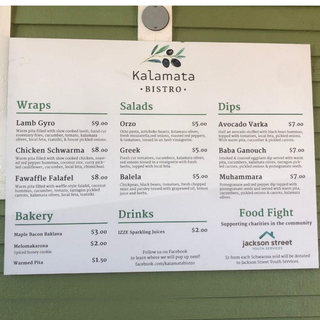 Kalamata Bistro food truck menu