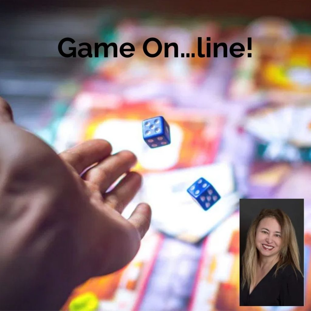 Playgrounding podcast episode 48 showing hand rolling dice and image of Mary Cantazaro