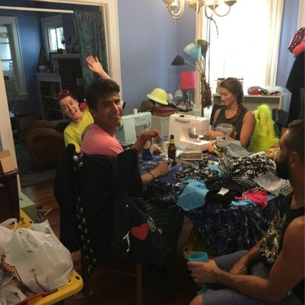 Dining room filled with friends and crafts before zen cleaning