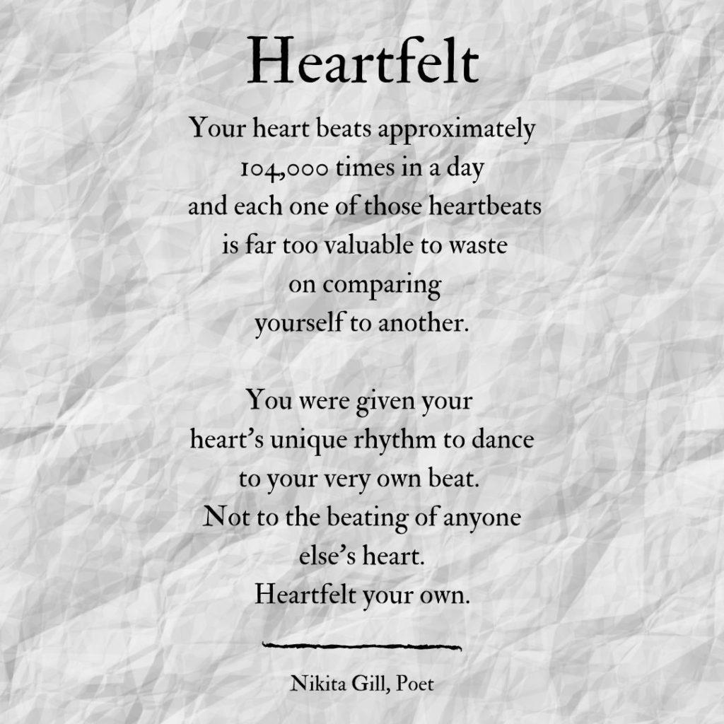 Heartfelt a poem by Nikita Gill