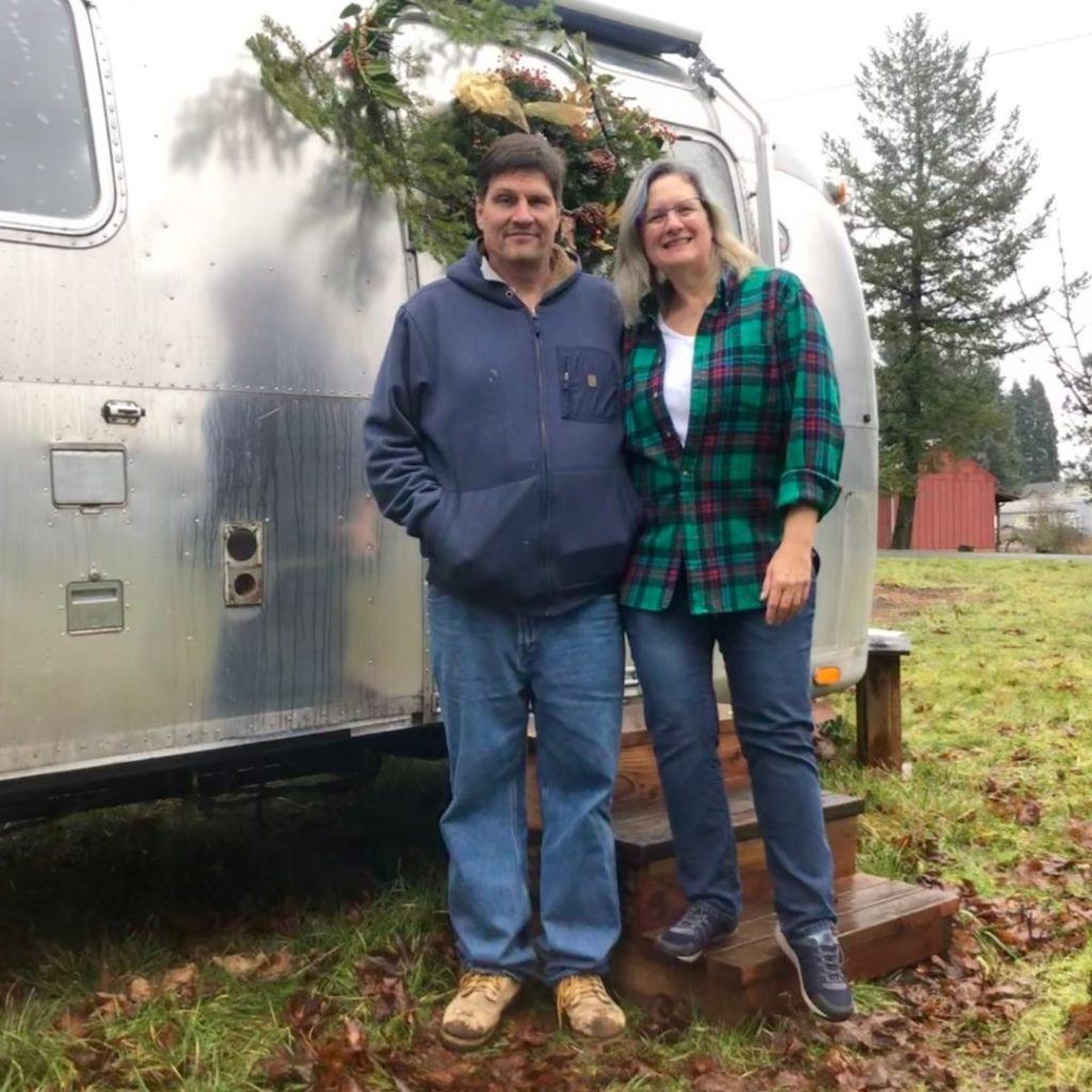 Christmas 2019 pose in front of our vintage airstream