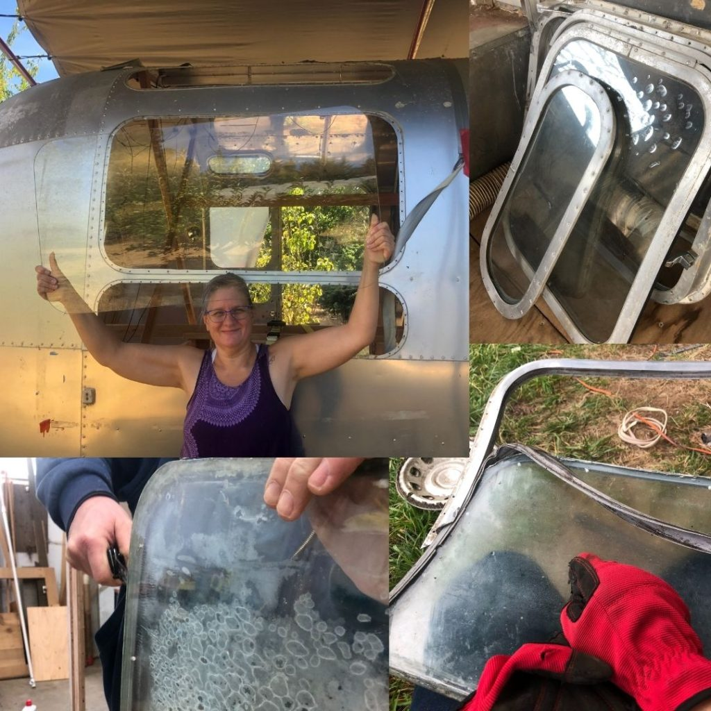 Fixing windows on the vintage airstream