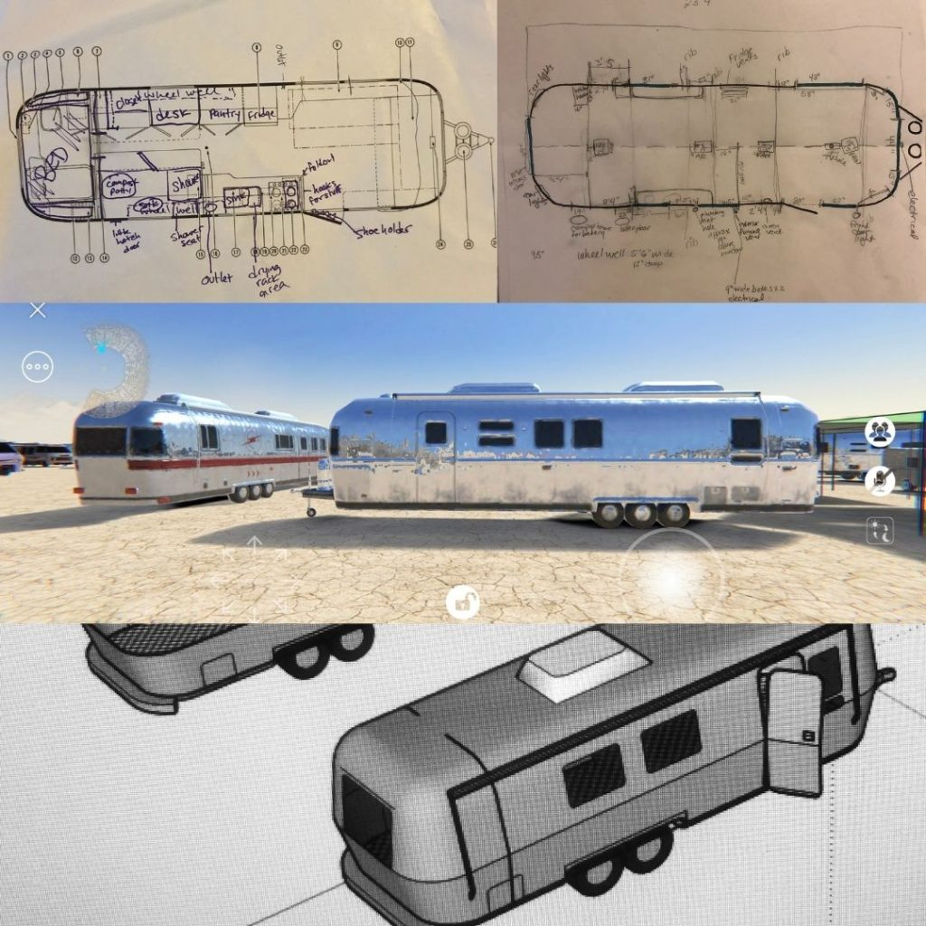 floor plans and 3d drawings of airstreams