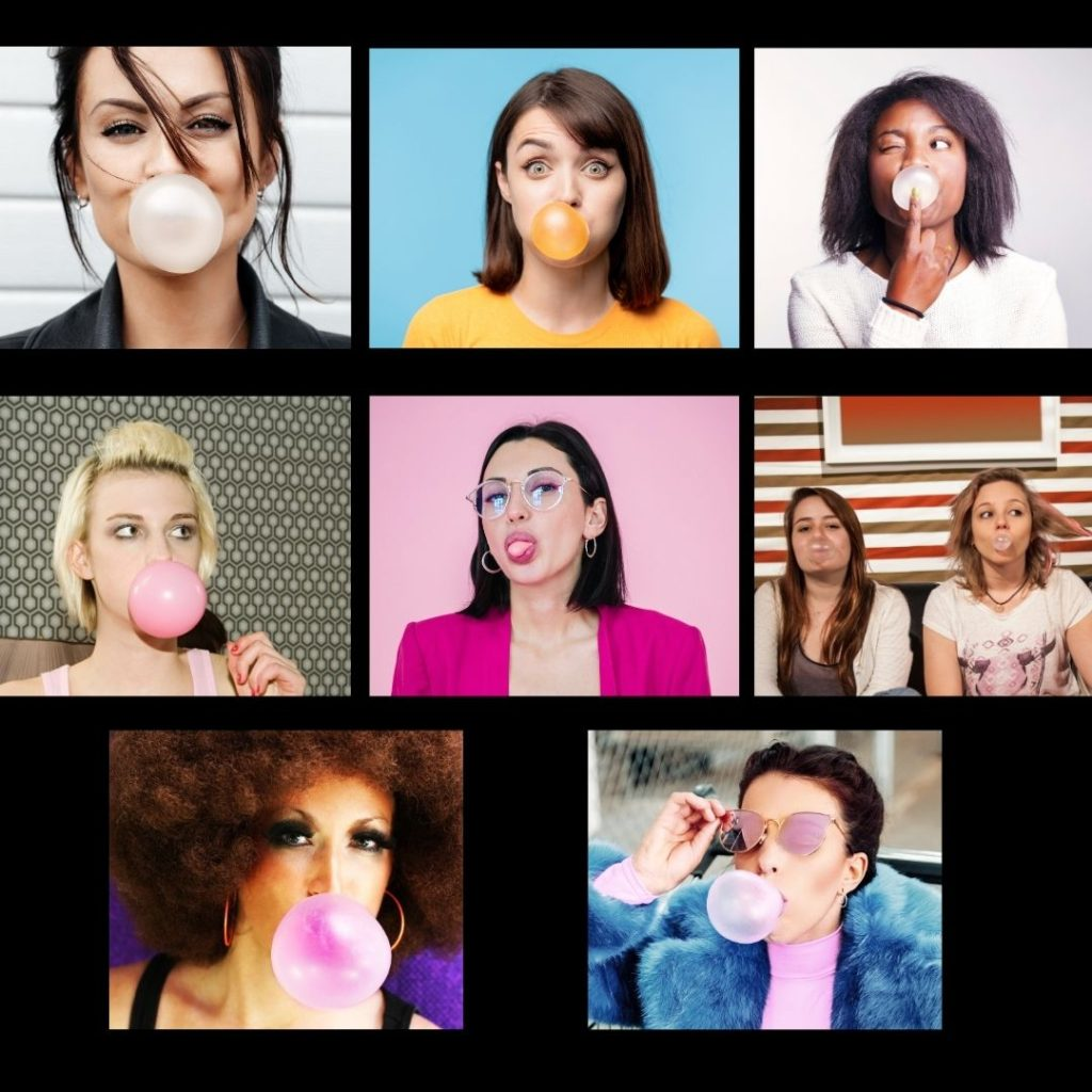 Women blowing bubbles on zoom call