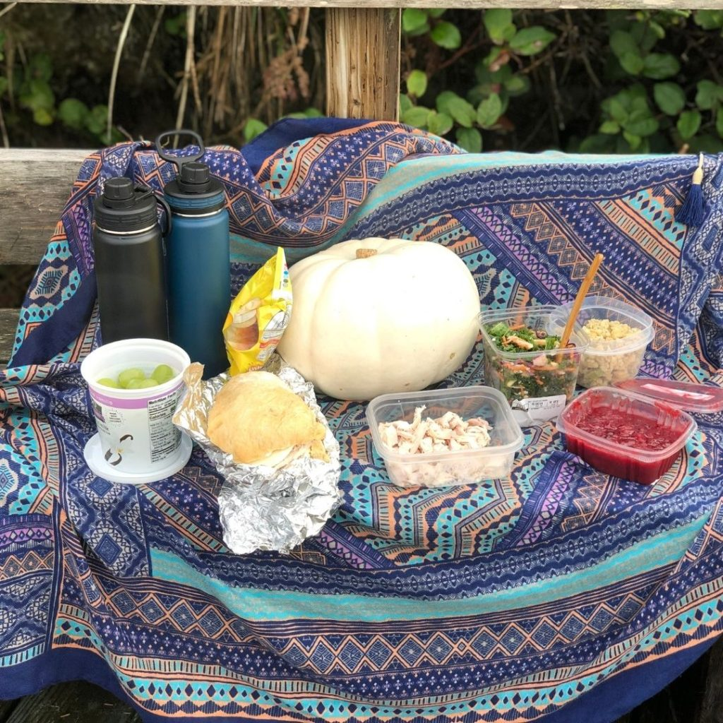 Thanksgiving picnic on blue scarf