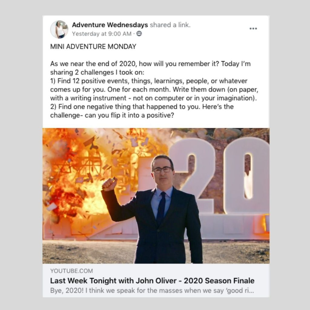 Mini Adventure Monday post featuring 2020 Sucks Challenge and John Oliver blowing up 2020 video