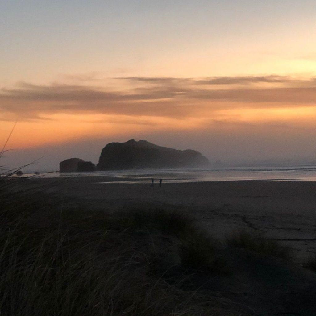 Bandon Beach rocks at sunset