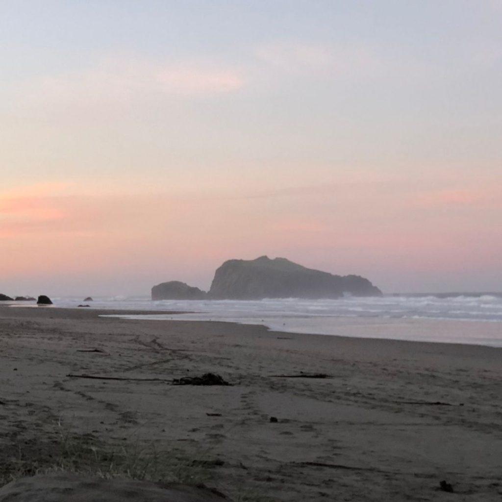 Bandon Beach rocks at sunrise