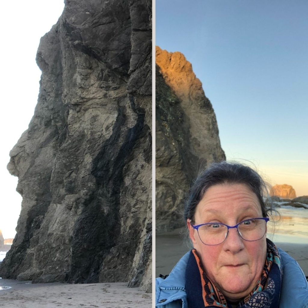 Face Rock on the left, me making a funny face in the cold on the right