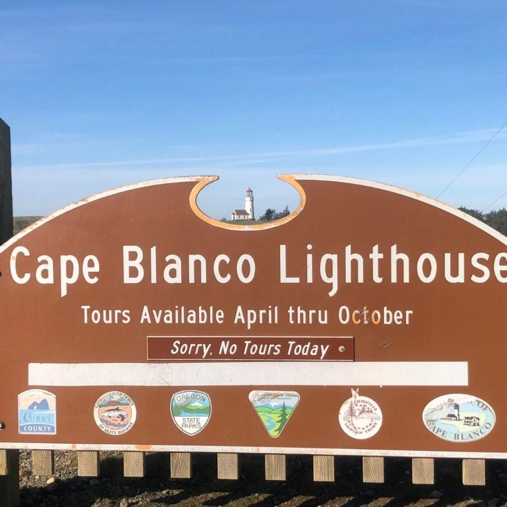 Cape Blanco Lighthouse sign
